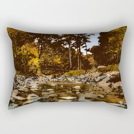 Serene small pond by the woods painting nature forest peaceful camping wilderness hiking landscape Rectangular Pillow