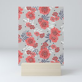 Crimson and Silver Floral Mini Art Print