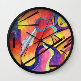 Modern Abstract Low Poly Geometric Triangles After Kandinsky Wall Clock
