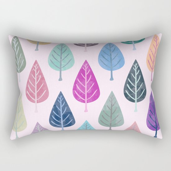 Watercolor Forest Pattern V Rectangular Pillow