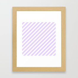 Chalky Pale Lilac Pastel and White Candy Cane Stripes Framed Art Print