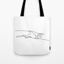 Line Holding Hands Tote Bag