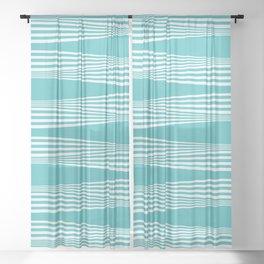 wavy stripes in aqua Sheer Curtain