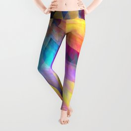 Colourful abstract with leaf shapes Leggings