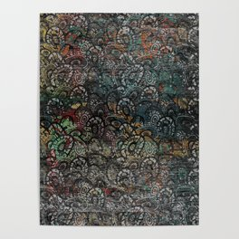 Burned Color  Paisley Pattern on  Wood Poster