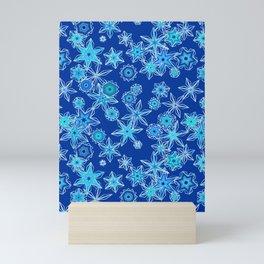 Modern Geometric Snowflakes, Sapphire Blue Mini Art Print