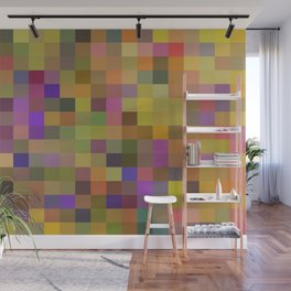 geometric square pixel pattern abstract in yellow green purple Wall Mural