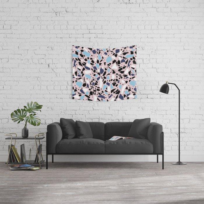 Terrazzo Spot Blues on Blush Wall Tapestry
