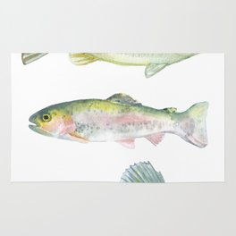 Fishing Watercolor Painting Rug