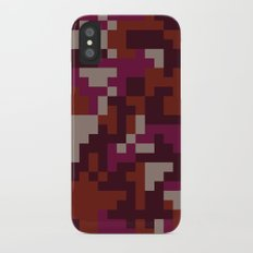 Red Pixel Camouflage pattern iPhone X Slim Case