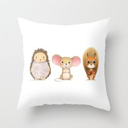 Hedghog, Mouse & Mr. Squirrel Throw Pillow