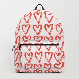 Heart Pattern Living Coral - hand painted Backpack