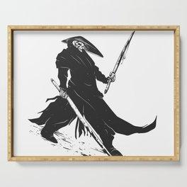 Samurai skull - japanese evil - black and white - fighter illustration - grim reaper cartoon Serving Tray