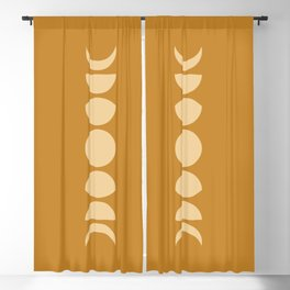 Minimal Moon Phases - Golden Orange Blackout Curtain