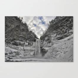 Taughannock Falls State Park in winter (color) Canvas Print