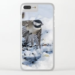 Christmas Chickadee Clear iPhone Case
