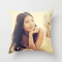 asian Throw Pillows featuring Asian Beauty by visualspectrum