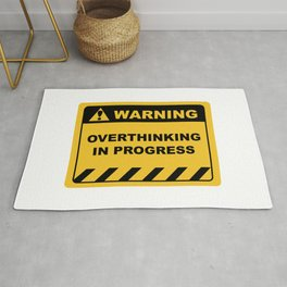 "Human Warning Label ""Warning Overthinking In Progress"" Sayings Sarcasm Humor Quotes Rug"