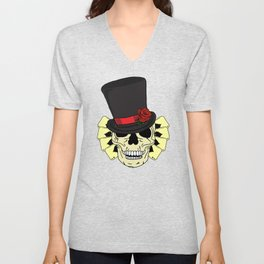 Magician Skull in Top Hat Unisex V-Neck