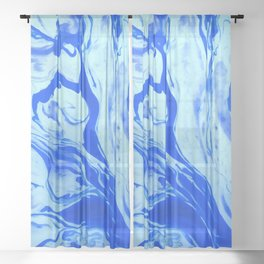 Blue Liquid Marble Sheer Curtain