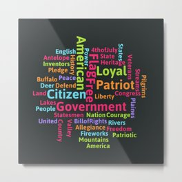 Word Cloud with some of the Many Words related to America Metal Print