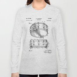 Snare Patent - Musician Art - Black And White Long Sleeve T-shirt