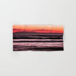 Sunset Purple Pink Beach Ocean Wave Seascape Scenic Colored Wall Art Lustre Print Hand & Bath Towel