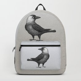 Western jackdaw pencildrawing Backpack
