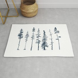 Navy Trees Silhouette Rug