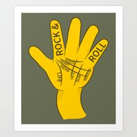 rock and roll Art Prints featuring Palmistry Rock and Roll by mailboxdisco