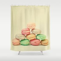 macarons Shower Curtains featuring French Macarons by Cassia Beck