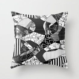 Chaotic Black And White Throw Pillow