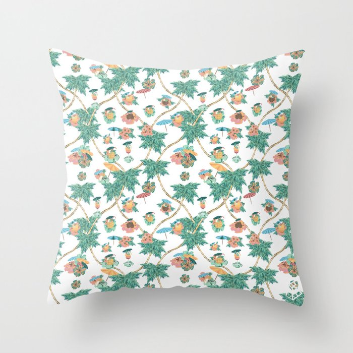 Tropical kitch cocktail pattern Throw Pillow