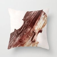 cello Throw Pillows featuring Cello by Adrianna Grężak