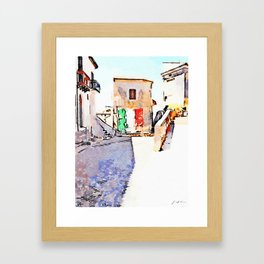 Tortora glimpse with Italian flag painted on the wall of building Framed Art Print