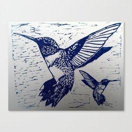 Blue Ink Hummingbirds Print Canvas Print