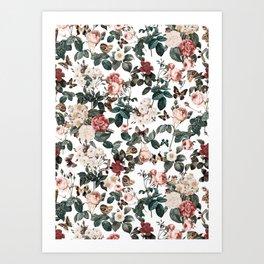 Floral and Butterflies II Art Print