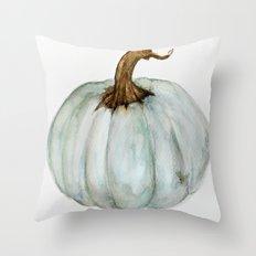 Blue-Gray Cinderella Pumpkin - Watercolor  Throw Pillow