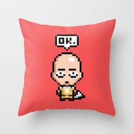 PixelSaitama Throw Pillow