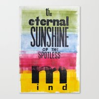 eternal sunshine of the spotless mind Canvas Prints featuring The eternal sunshine of the spotless mind by Federica Tumminello