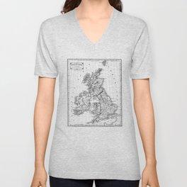 Vintage Map of The British Isles (1864) BW Unisex V-Neck