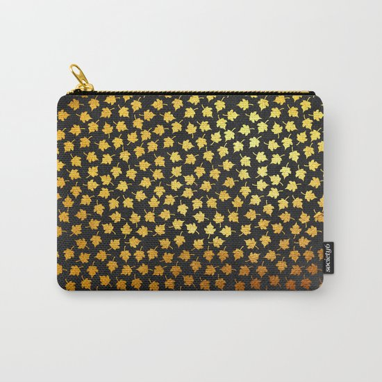 AUTUMN - small gold leaves on chalkboard background Carry-All Pouch