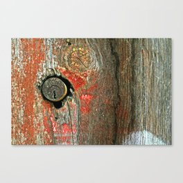 Weathered Wood Texture with Keyhole Canvas Print