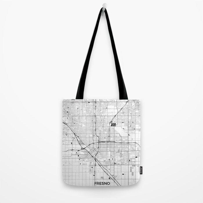 Fresno Map Gray Tote Bag