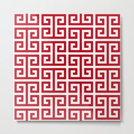Pomegranate Red and White Greek Key Pattern Metal Print