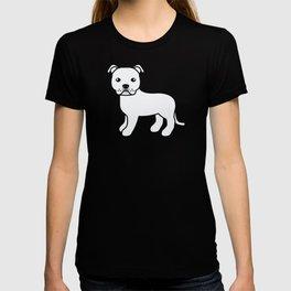 White English Staffordshire Bull Terrier Cartoon Dog T-shirt