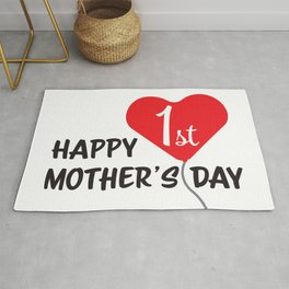 Happy First Mother's day Red Heart Balloon Rug