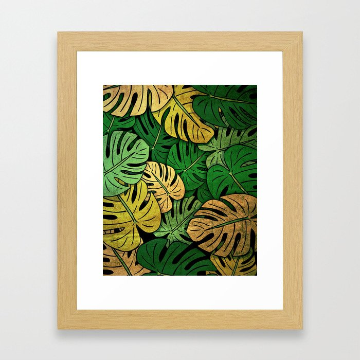 Grunge Monstera Leaves Framed Art Print