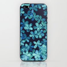 Hand Painted Floral Pattern in Teal & Navy Blue iPhone & iPod Skin