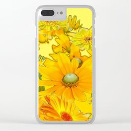 DECORATIVE YELLOW FLORAL GARDEN ART Clear iPhone Case